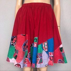 80's Vintage Southwestern Print Circle Skirt Red
